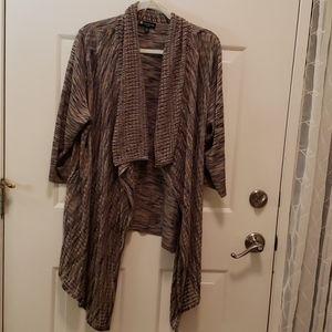 Open front 3/4 sleeve beige, grey &black sweater